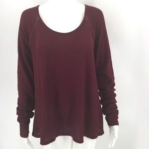 LUCKY BRAND Top XL Red Wine Waffle Knit Lace Shirt